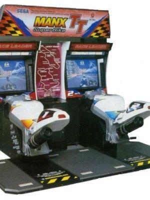 Symulator wideo motocykle manxx tt. Zlinkowane dwa stanowiska umożliwiające wyścigi pomiędzy dwoma zawodnikami.